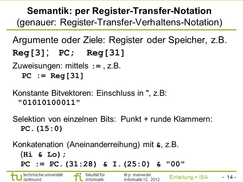 Argumente oder Ziele: Register oder Speicher, z.B. Reg[3]; PC; Reg[31]